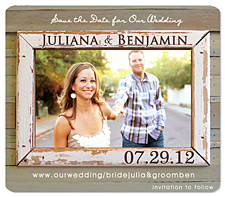 """Rustic Love Photo Framer"" Save the Date Magnet"