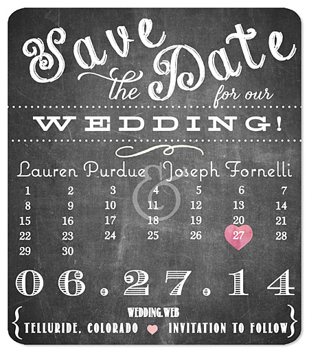 """Playful Type Calendar - Chalk"" Save the Date Magnet"