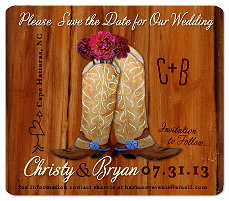 """Cowboy Boot Bouquet"" Save the Date Magnet"